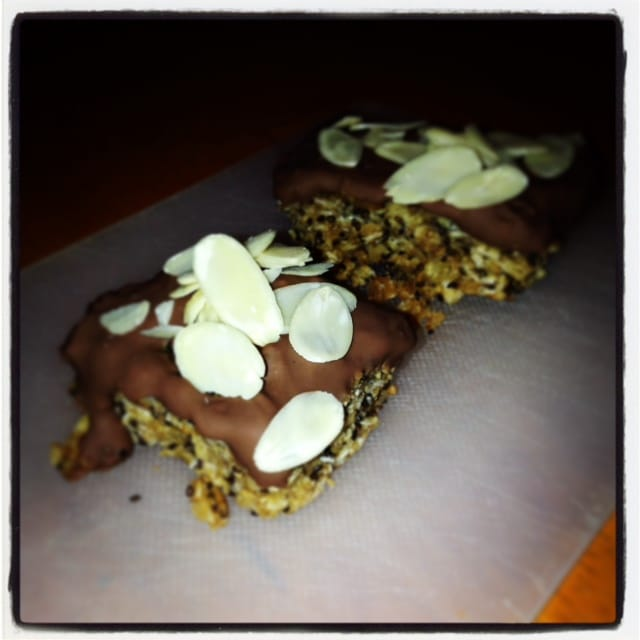 Chia Charge Flpjack topped with chocolate and almonds