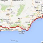 Malaga to Murcia, Google Maps
