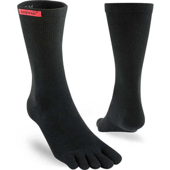 Injinji Sport Original Weight Crew Toe Socks (Black) - Dual