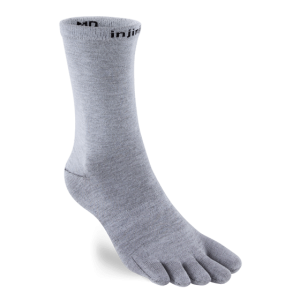 Injinji Liner Lightweight Coolmax Crew Toe Socks (Heather Grey)