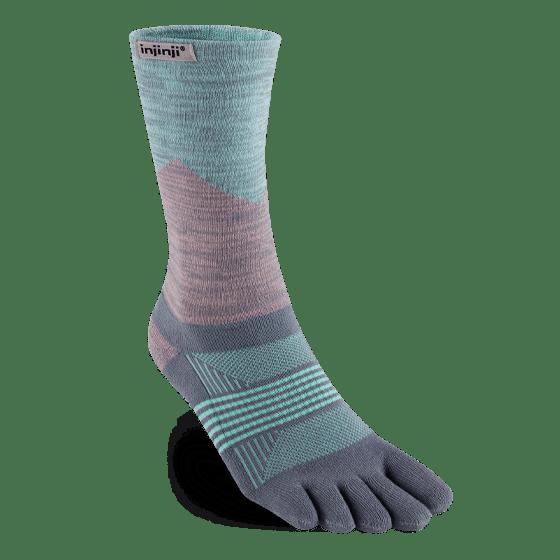 Injinji Womens Trail Midweight Crew Toe Socks (Quartz)