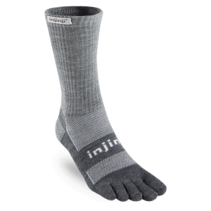 Injinji Outdoor Midweight Crew NuWool Toe Socks (Charcoal)