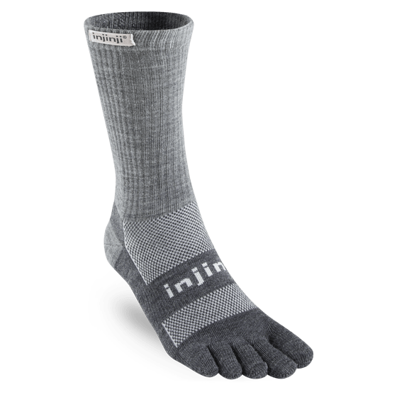 Injinji Outdoor Midweight Crew NuWool Toe Socks (Charcoal)