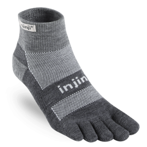 Injinji Outdoor Midweight Mini-Crew NuWool Toe Socks (Charcoal)