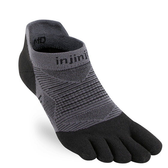 Injinji RUN 2.0 Lightweight No-Show Running Toe Socks (Black)