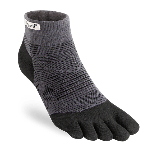 Injinji RUN Lightweight Mini-Crew Running Toe Socks (Black)