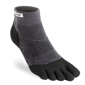 Injinji RUN Original Weight Mini-Crew Running Toe Socks (Black)