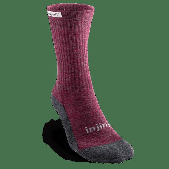 Injinji Womens Hiker + Liner Combo Merino Wool Crew Walking Socks (Maroon & Heather Grey)