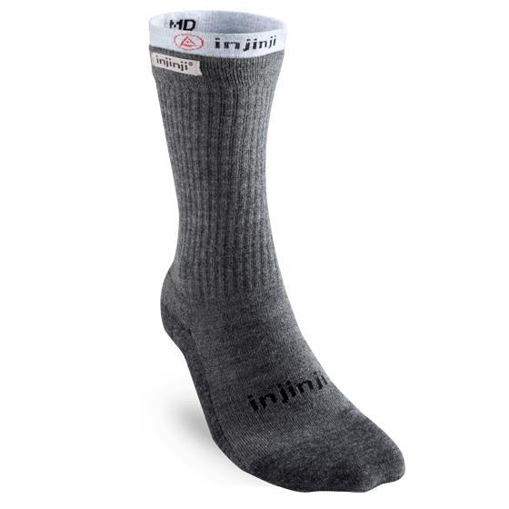 Injinji Mens Hiker + Liner Combo Crew Toe Socks (Charcoal & Heather Grey)