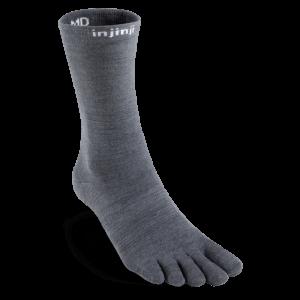 Injinji Liner Merino NuWool Lightweight Crew Toe Socks (Charcoal)