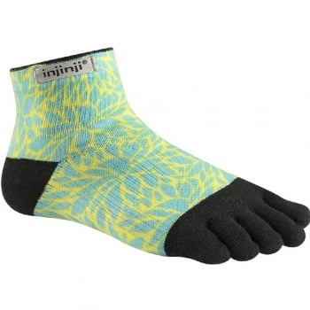 Injinji Womens RUN Lightweight Mini-Crew Running Toe Socks (Fern)