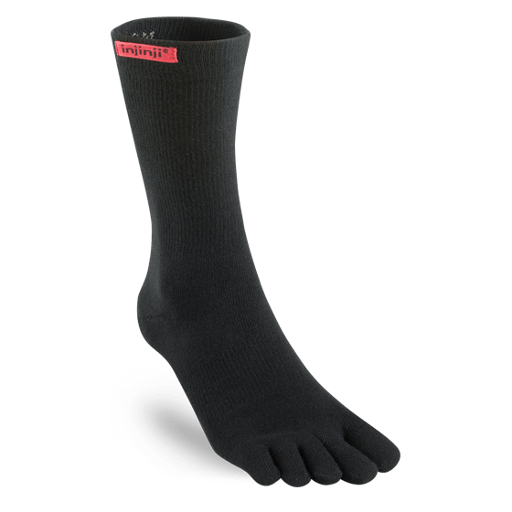 Injinji Sport Original Weight Crew Toe Socks (Black)
