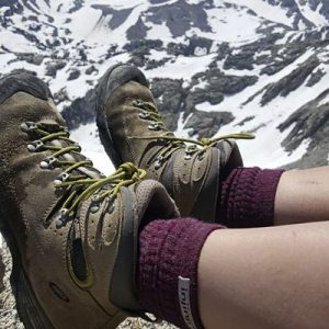 Injinji Womens Hiker + Liner Combo Merino Wool Crew Walking Socks (Maroon & Heather Grey) - Lifestyle