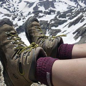 Injinji Womens Hiker + Liner Combo Merino Wool Crew Walking Socks (Maroon & Heather Grey) - Lifestyle