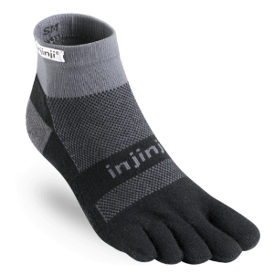 Injinji RUN Midweight Mini-Crew Running Toe Socks (Black/Grey)