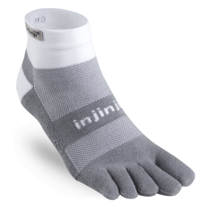 Injinji RUN Midweight Mini-Crew Running Toe Socks (White/Grey)