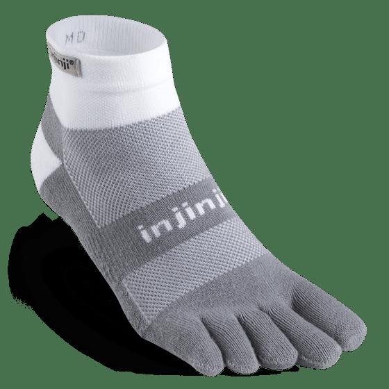 Injinji RUN Midweight Mini-Crew Running Toe Socks (White/Grey)