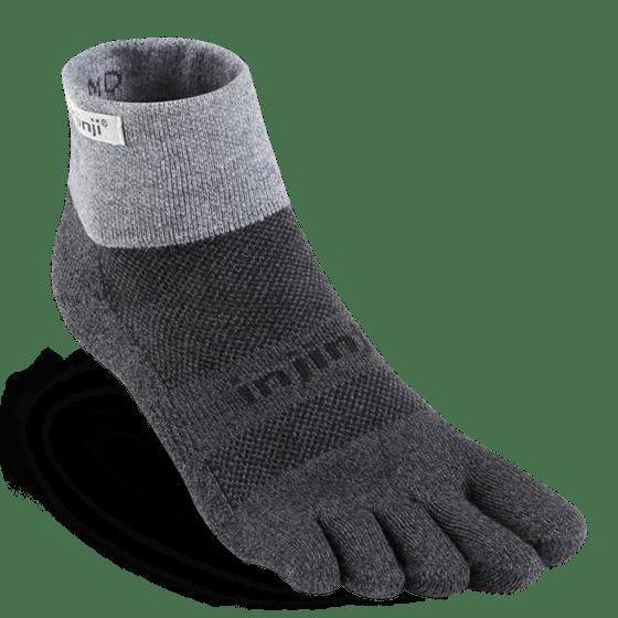 Injinji Trail Midweight Mini-Crew Running Toe Socks (Granite)