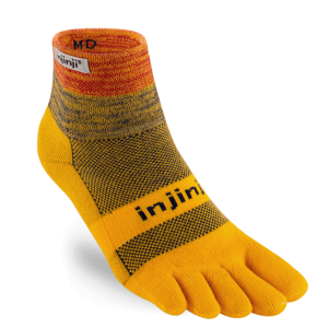 Injinji Trail Midweight Mini-Crew Running Toe Socks (Marigold)