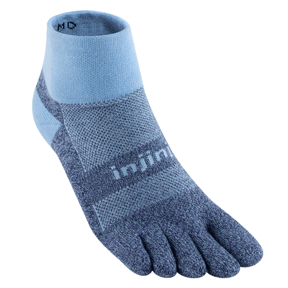 Injinji Trail Midweight Mini-Crew Running Toe Socks (Powder Blue)