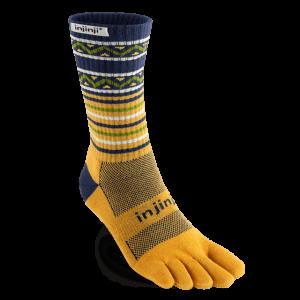 Injinji Trail Midweight Crew Running Toe Socks (Dijon)