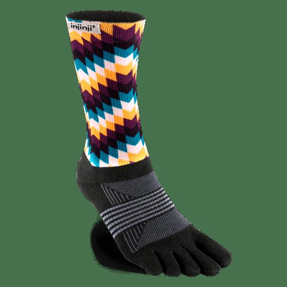 Injinji Womens Trail Midweight Crew Toe Socks (Feathers)