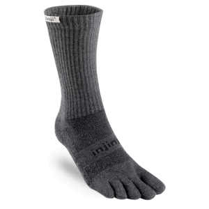 Injinji Trail Crew Midweight Running Toe Socks (Granite)