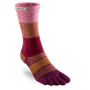 Injinji Womens Trail Midweight Mini-Crew Running Toe Socks (Pomegranate)