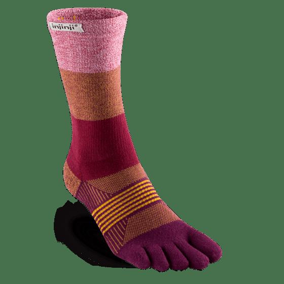 Injinji Womens Trail Midweight Mini-Crew Running Toe Socks (Pomegranate)