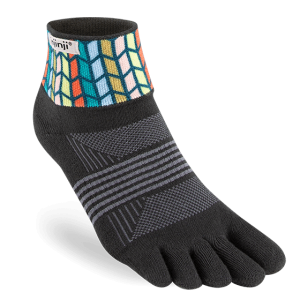 Injinji Womens Trail Midweight Mini-Crew Running Toe Socks (Chevron)