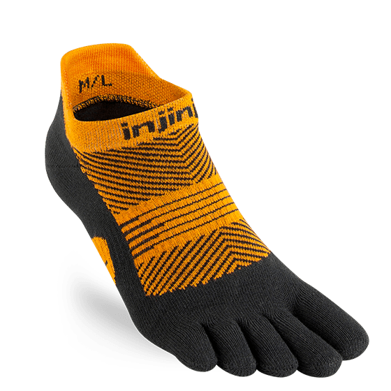 Injinji Womens RUN Lightweight No-Show Running Toe Socks (Tiger)