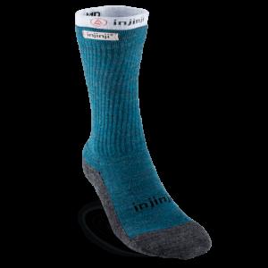 Injinji Womens Hiker + Liner Combo Merino Wool Crew Walking Socks (Blue & Heather Grey)
