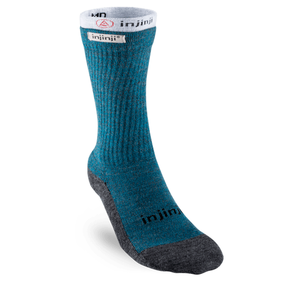 Injinji Womens Hiker + Liner Combo Merino Wool Crew Walking Socks (Blue & Heather Grey)
