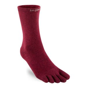 Injinji Liner Lightweight Coolmax Crew Toe Socks (Burgundy)