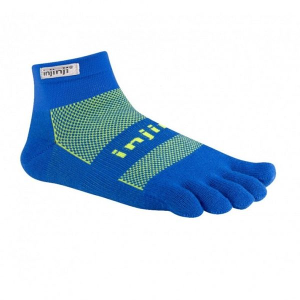 Injinji RUN Original Weight Mini-Crew Running Toe Socks (Charged Blue)
