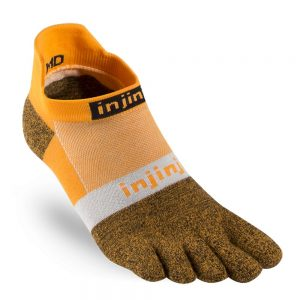 Injinji RUN Lightweight No-Show Running Toe Socks (Tangerine)