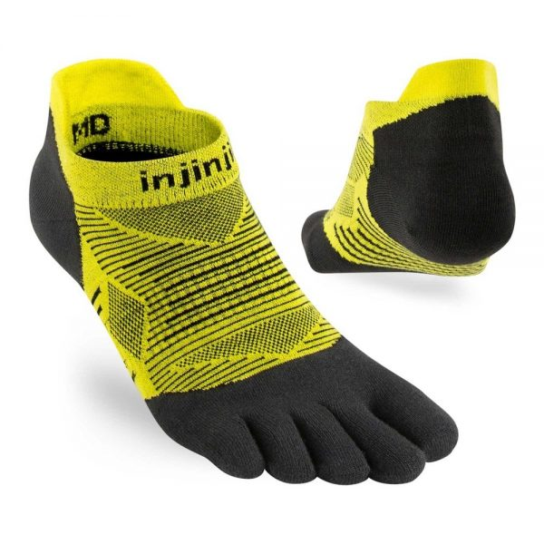 Injinji RUN Lightweight No-Show Running Toe Socks (Limeade) - angles