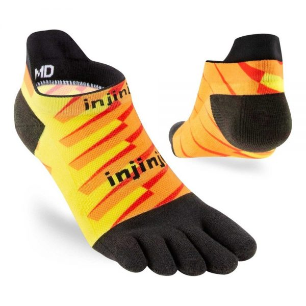 Injinji RUN Lightweight No-Show Running Toe Socks (Lightning) - Angles
