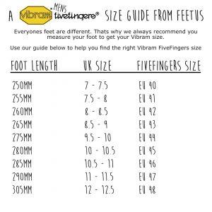 Vibram FiveFingers Mens Size Guide