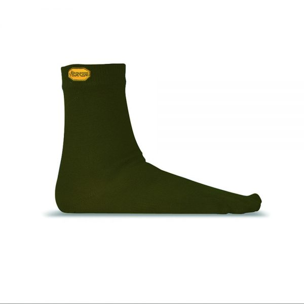 Vibram 5TOE Merino Wool Blend Crew Toe Socks (Green)