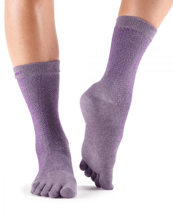 ToeSox Casual Full Toe Everyday Crew Toe Socks (Opal)
