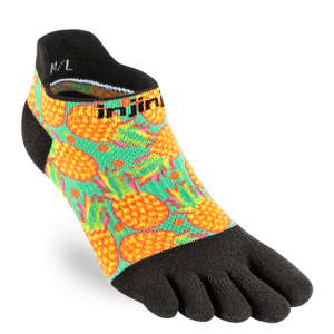 Injinji Womens RUN Lightweight No-Show Running Toe Socks (Pina)