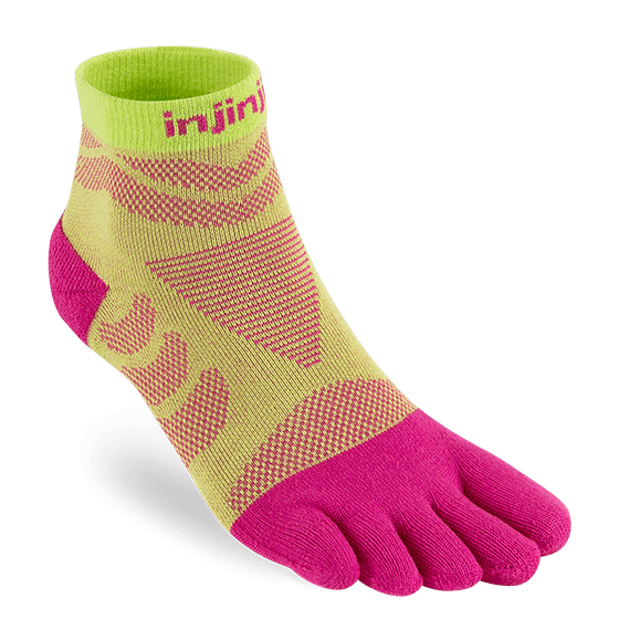 Injinji Womens Ultra Run Mini Crew Toe Running Socks (Melon)