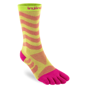 Injinji Womens Ultra Run Crew Toe Running Socks (Melon)