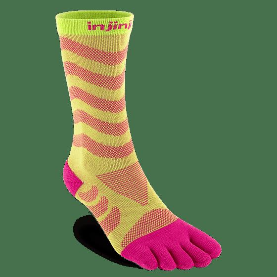 Injinji Womens Ultra Run Crew Toe Running Socks (Melon)