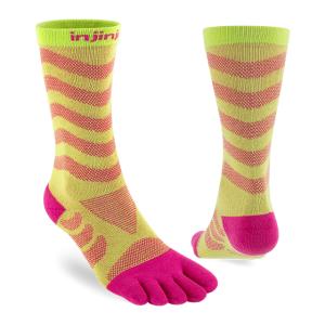 Injinji Womens Ultra Run Crew Toe Running Socks (Melon) - Dual