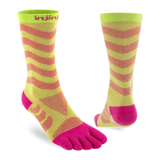 Injinji Womens Ultra Run Crew Toe Running Socks (Melon) - Dual