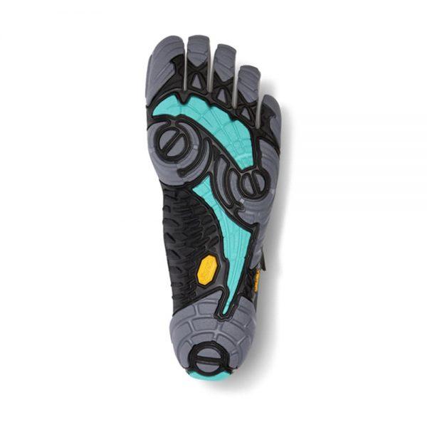 Vibram FiveFingers Womens V-TRAIN Minimalist Training Shoe (Grey/Black/Aqua) - Bottom