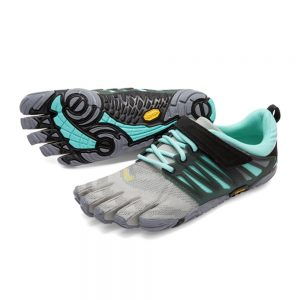 Vibram FiveFingers Womens V-TRAIN Minimalist Training Shoe (Grey/Black/Aqua)