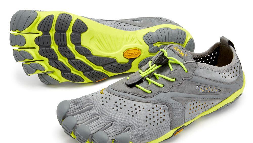 Vibram FiveFingers Mens V-RUN Minimalist Running Shoe - Grey/Yellow